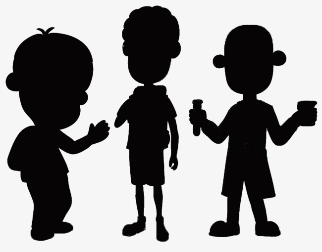 650x510 Three Black Silhouettes Of Cartoon Boy, Black, Boy, Sketch Png