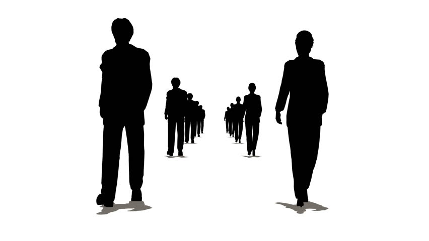 852x480 Three Circles Of Business People Silhouette Stock Footage Video