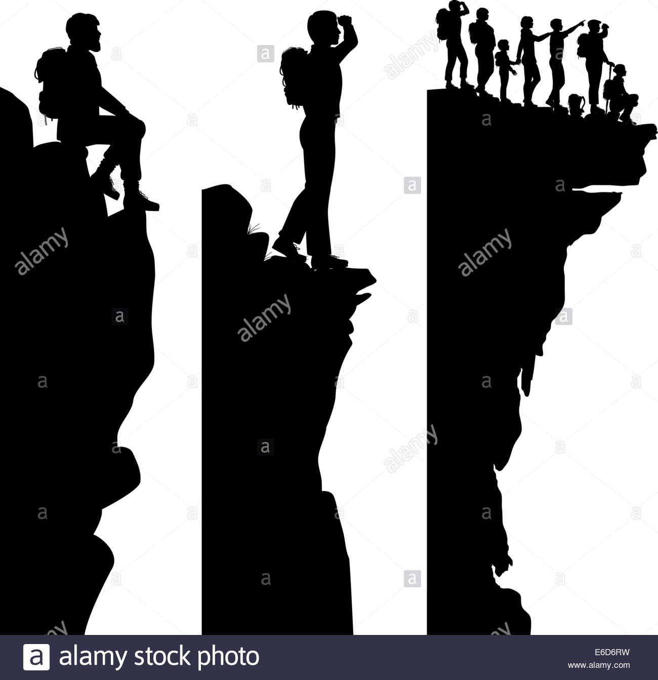 1300x1343 Three Editable Vector Side Panel Silhouettes Of Hikers Standing