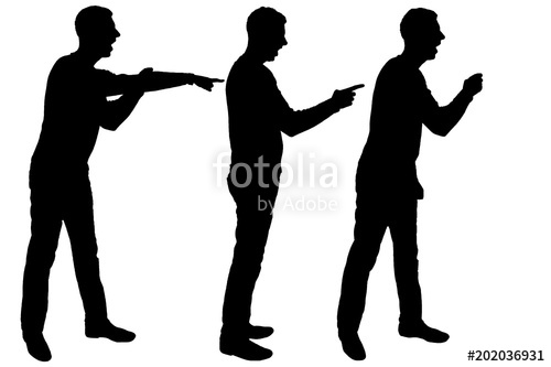 500x333 Vector Silhouette Of Three Men Who Scream And Point Their Finger