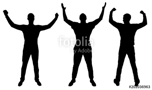 500x297 Silhouette Of Three Happy Men With Arms Raised Stock Image