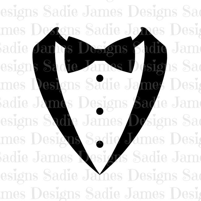 650x650 Tuxedo Bow Tie Svg And Silhouette Studio Cutting File Instant