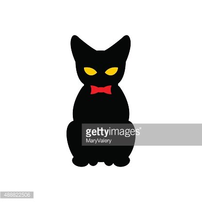 416x416 Black Cat With Red Bow Silhouette Of Pet Premium Clipart