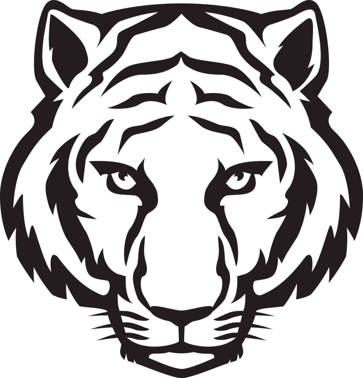 1510x1571 Tiger Head Outline Tiger Eyes Black And White Clipart Panda