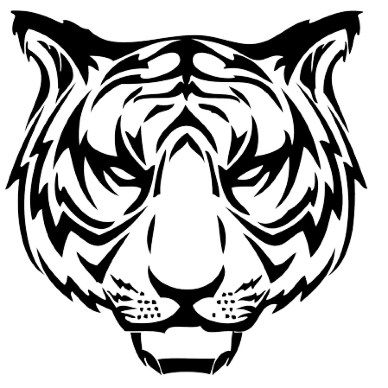 1252x1252 Angry Tiger Face Tattoo Sketch