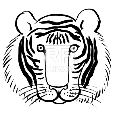 400x400 Tiger Face Royalty Free Vector Clip Art Image
