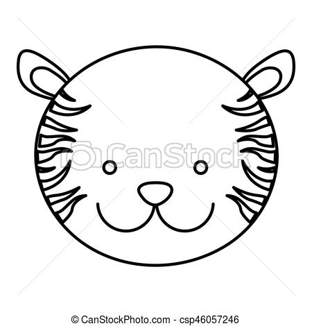 450x470 Frotn View Silhouette Face Cute Tiger Animal Vector Eps Vector