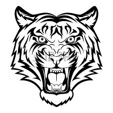 225x225 Tiger Head Outline Tiger Eyes Black And White Clipart Panda