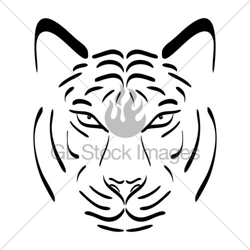 500x500 Tiger Head Silhouette. Vector Tiger Icon As A Design Elem Gl
