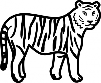 425x347 Tiger Standing Looking And Watching Outline Clip Art Vector, Free