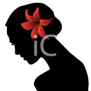 300x300 Silhouette Of A Woman With A Tiger Lily In Her Hair Clip Art Image