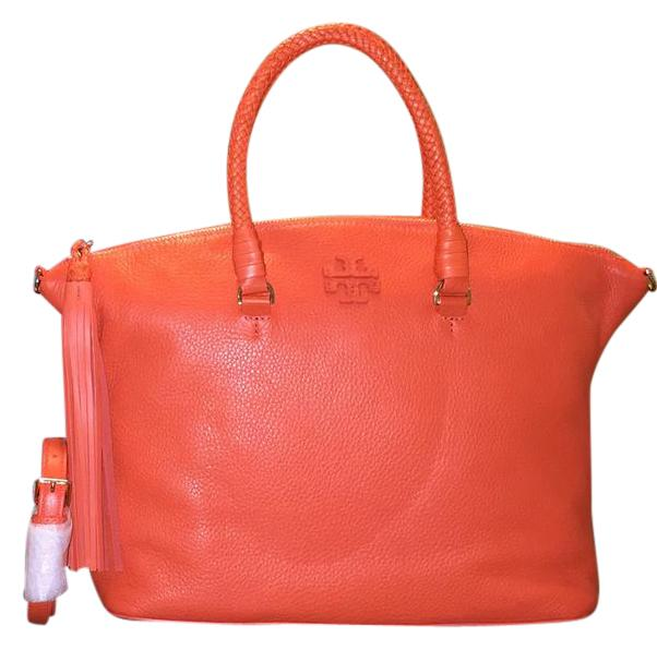 602x596 Tory Burch Taylor In Tiger Lily Leather Satchel
