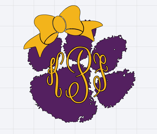 549x469 Monogrammed Lsu Tigers Paw Print With Bow Decal Silhouette