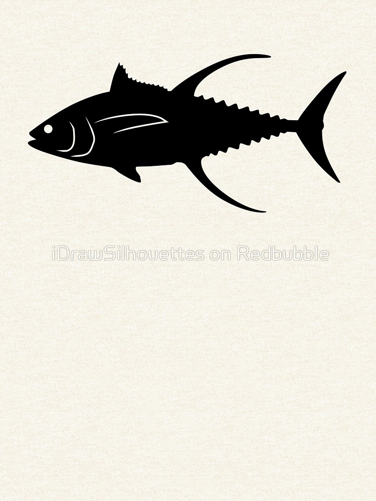 750x1000 Yellowfin Tuna Fish Silhouette (Black) Pullover Hoodie By
