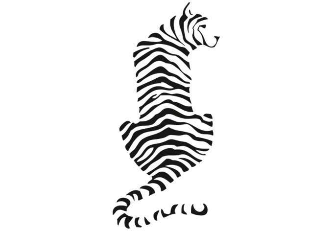 680x472 Tiger Silhouette Wall Decal