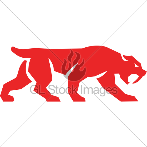 500x500 Saber Tooth Tiger Cat Silhouette Retro Gl Stock Images