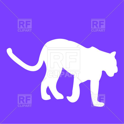 400x400 Silhouette Of Leopard Or Tiger Free Vector Clip Art Image