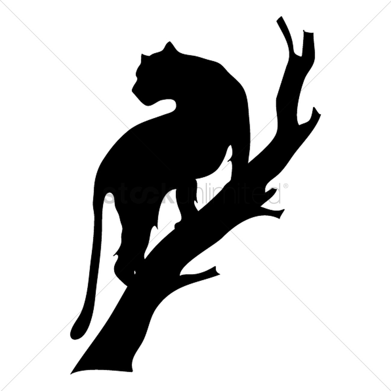 1300x1300 Silhouette Of Tiger On Tree Vector Image