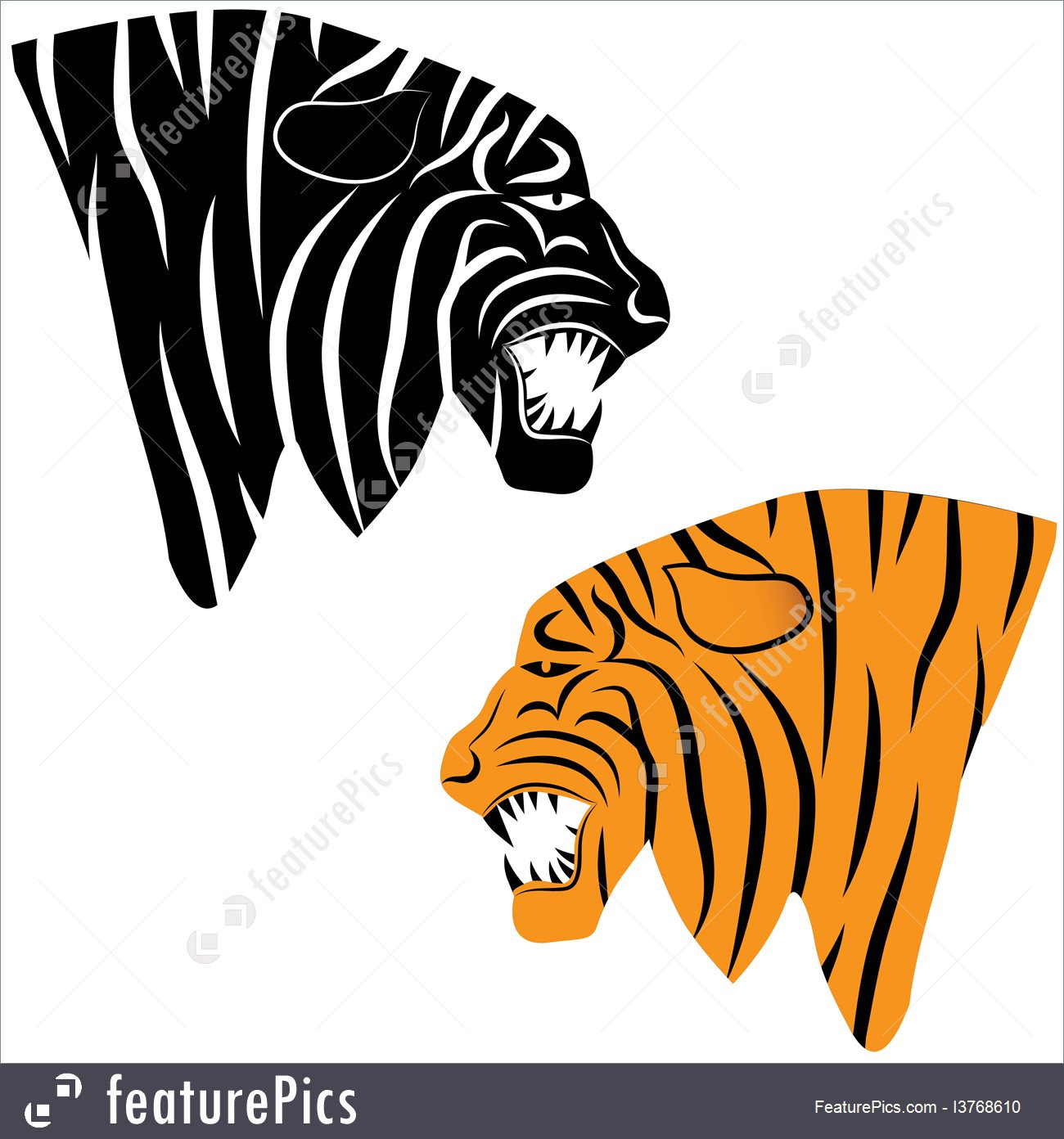 1300x1392 Tiger Head Silhouette, Vector