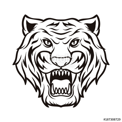 500x500 Tiger Silhouette Black And White Animal Logo Vector Icon Stock