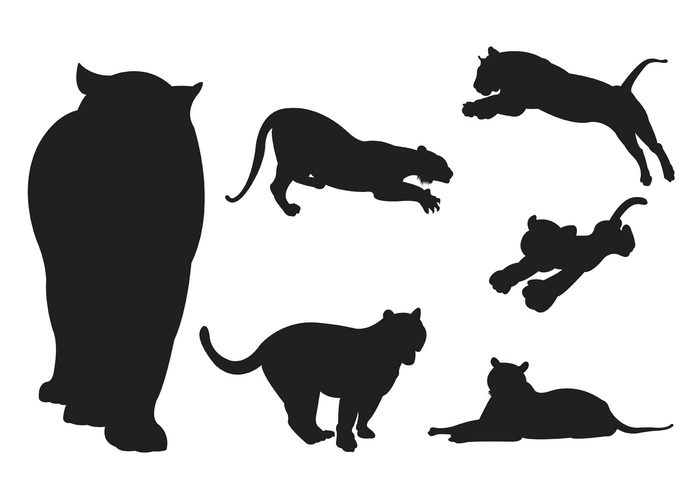 700x490 Vector Silhouette Of Tigers 117443