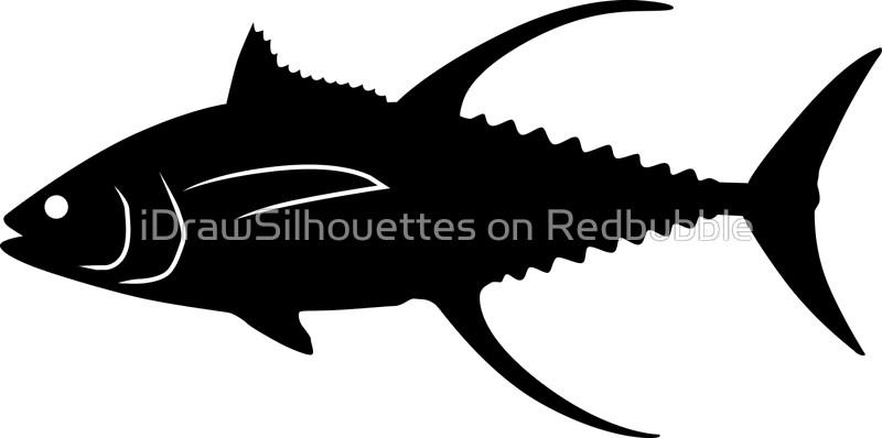800x398 Yellowfin Tuna Fish Silhouette (Black) Canvas Prints By