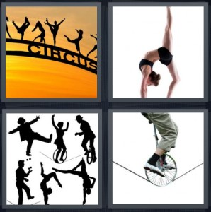 298x300 4 Pics 1 Word Answer For Circus, Gymnast, Perform, Tightrope