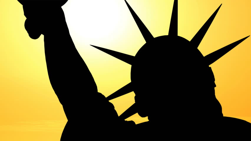 852x480 Statue Of Liberty Silhouette With Time Lapse Sunset. Stock Footage