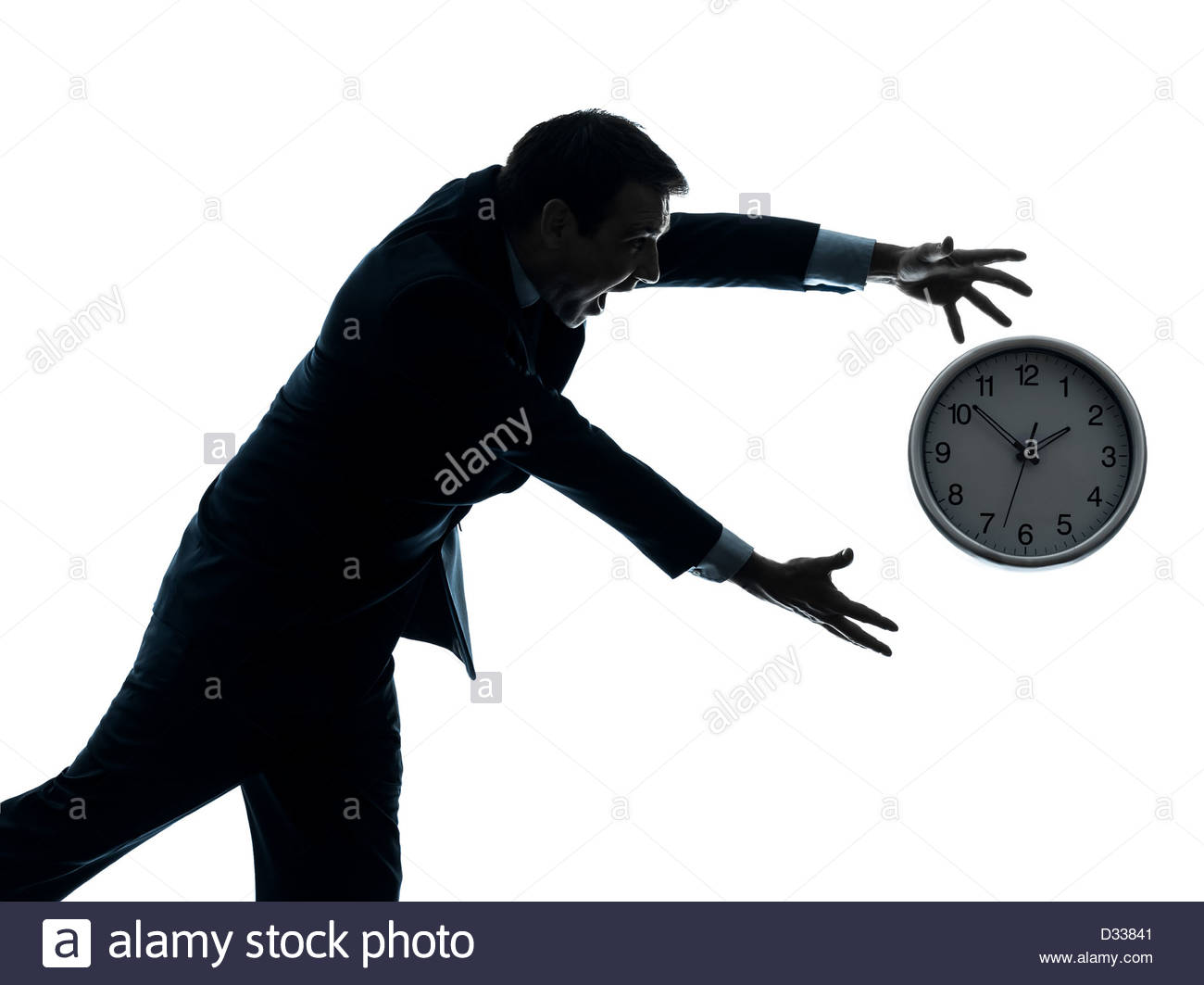 1300x1063 One Businessman Running After Time In Silhouette Studio Isolated
