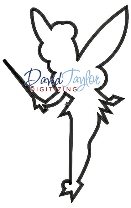 418x665 Tinkerbell Silhouette Embroidery Machine Design Applique