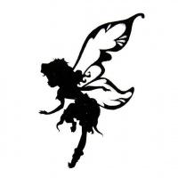 200x200 Little Running Fairy Girl Silhouette Tattoo Design