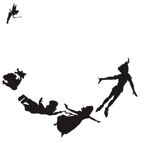 554x553 Peter Pan Silhouette Decal Peter Pan, Tinker Bell And Tattoos