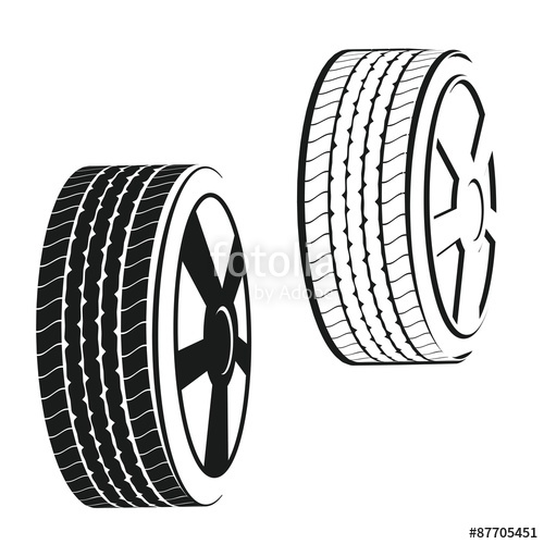 500x500 Wheel,tire Outline And Silhouette Vector Stock Photo And Royalty