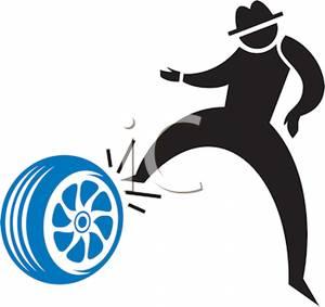 300x283 Black Silhouette Of A Man Kicking A Tire