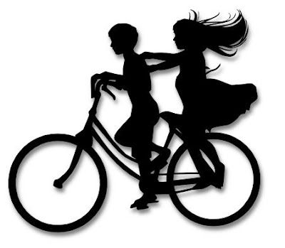 400x349 The Lady Wolf Boy And Girl On Bike Silhouette Svg Summer