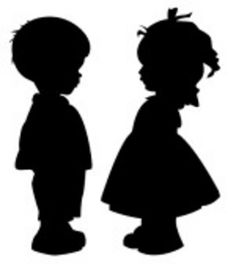 236x264 Little Boy And Little Girl Silhouettes Gender Reveal Party