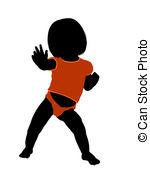 150x180 Female Infant Toddler Illustration Silhouette. Female Infant