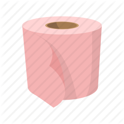 256x256 Bathroom, Bumf, Cartoon, Isoled, Paper, Roll, Toilet Paper Icon