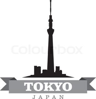 309x320 Tokyo Japan City Skyline Silhouette. Vector Illustration Stock