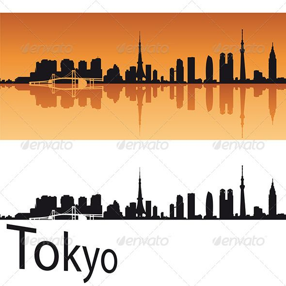 590x590 Tokyo Skyline In Orange Background Orange Background, Tokyo