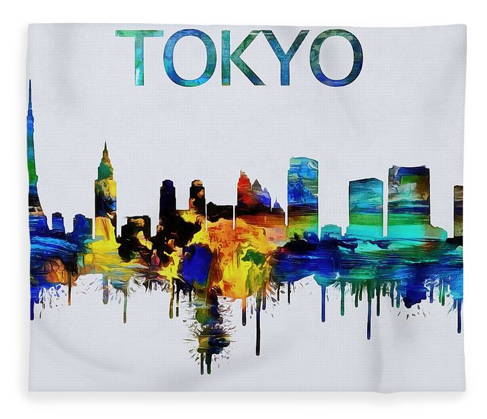 1000x860 Colorful Tokyo Skyline Silhouette Fleece Blanket For Sale By Dan