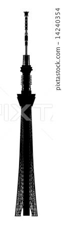 124x450 Tokyo Sky Tree, Silhouette, Silhouettes