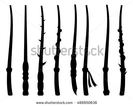 450x358 Magic Wands. Silhouette On A White Background. Wizard Tool. Vector