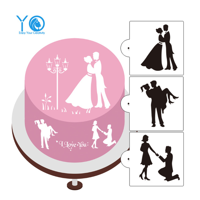 640x640 3pcslot Love Silhouette Cake Stencils Wedding Cake Decorating