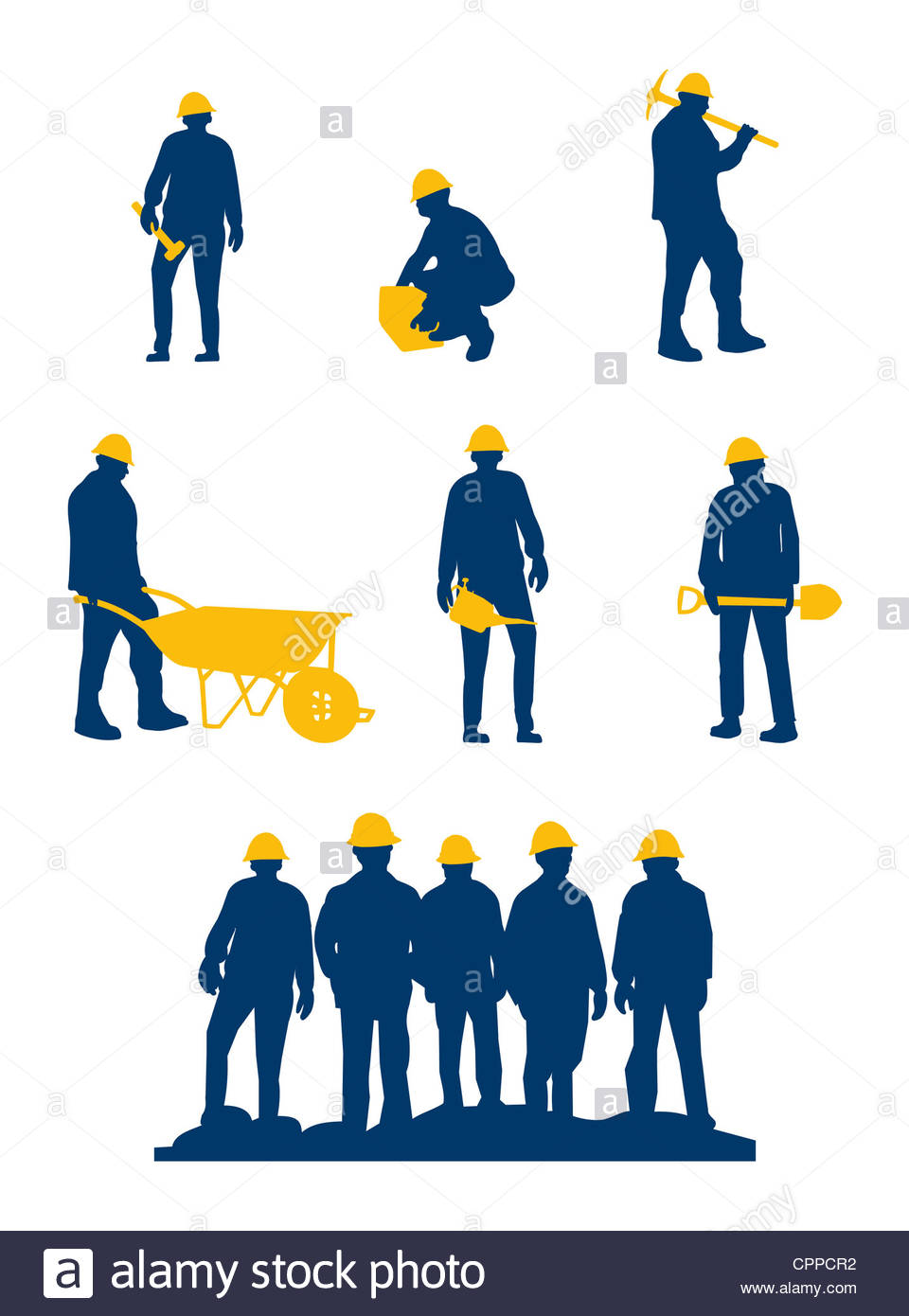 960x1390 Workers Silhouette With Yellow Tools And Helmet Stock Photo