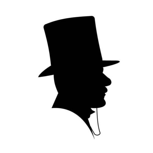 500x500 Man With Tophat Silhouette Car Decal Sticker Ebay