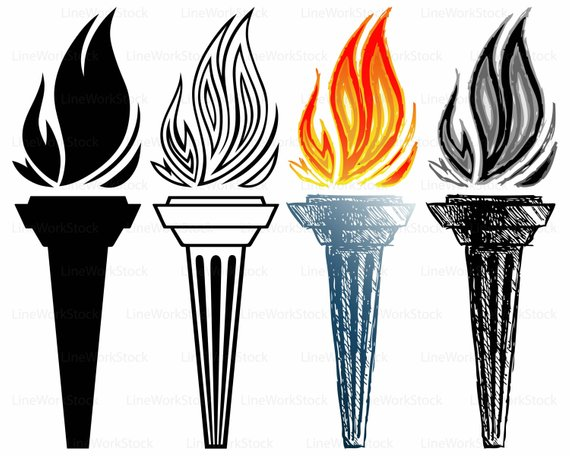 570x456 Burning Torch Svgcliparttorch Svgurning Silhouettetorch