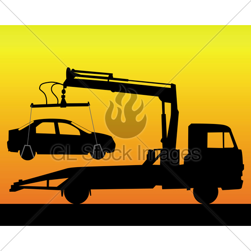 500x500 Black Silhouette Of A Tow Truck Gl Stock Images