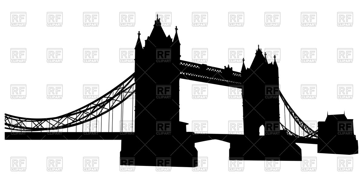 1200x600 Bridge Tower Silhouette In London Royalty Free Vector Clip Art