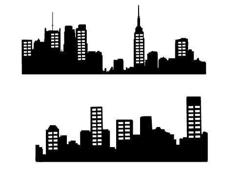 500x350 City Clipart Silhouette